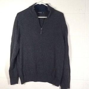 Nautica Gray Quarter Zip Cotton Pullover Sweater L